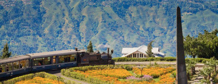 Darjeeling, India, West Bengal, Batasia Loop, Steam train known as the Toy Train of the Darjeeling Himalayan Railway listed as a World Heritage Site,